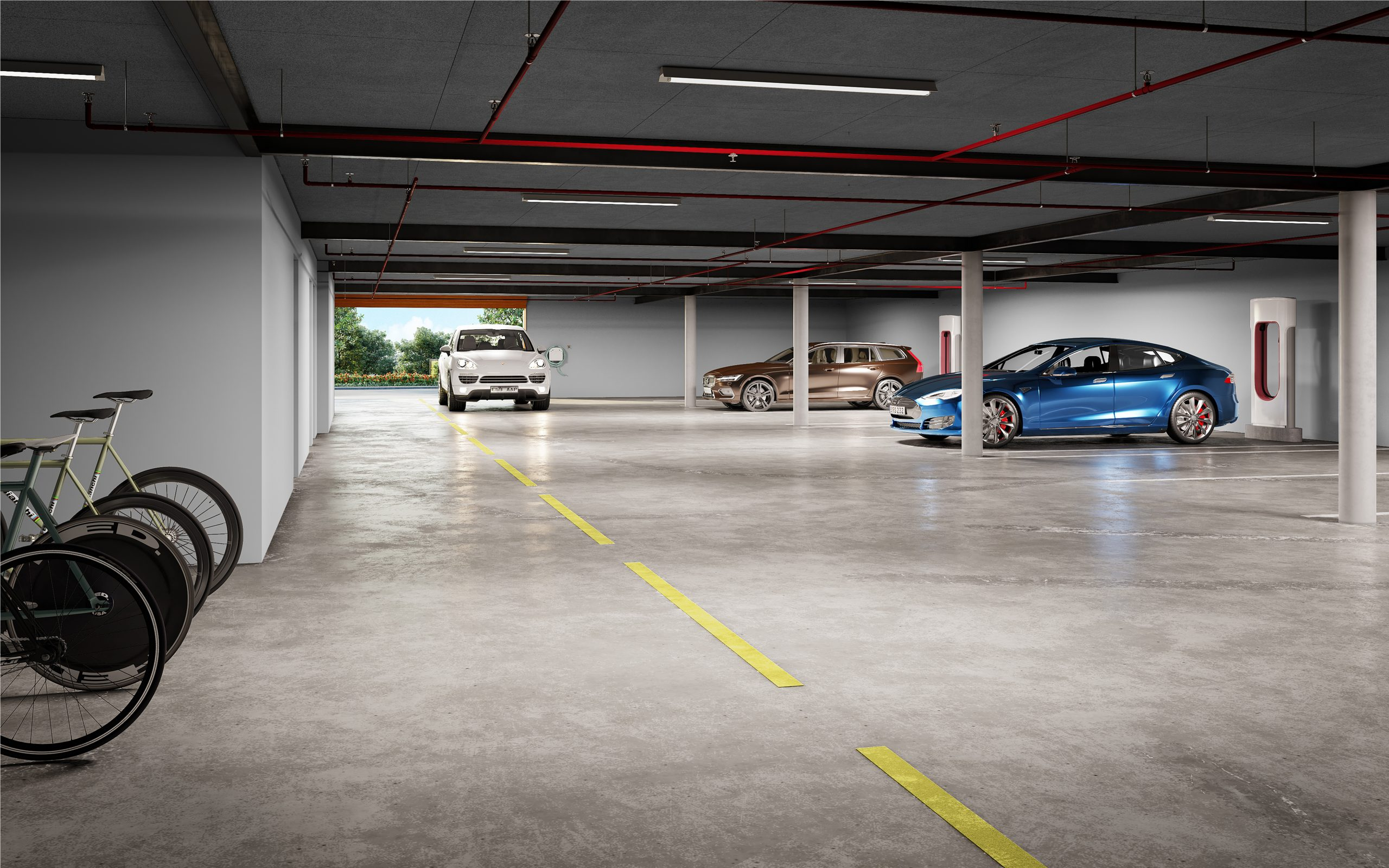 Garage underground electric vehicle