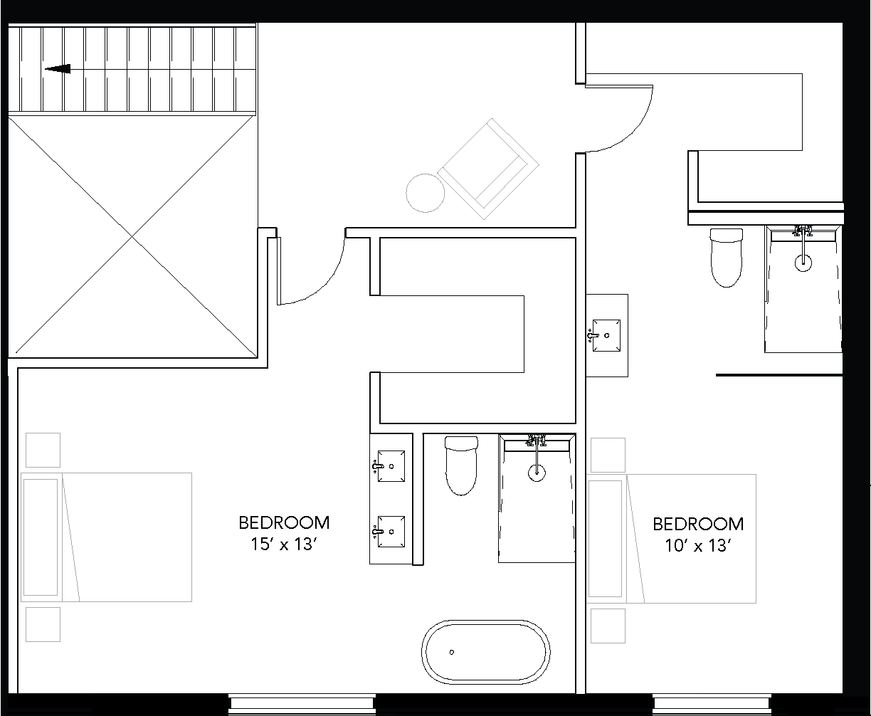 floor plan Upper Level: two bedrooms with ensuite bathrooms